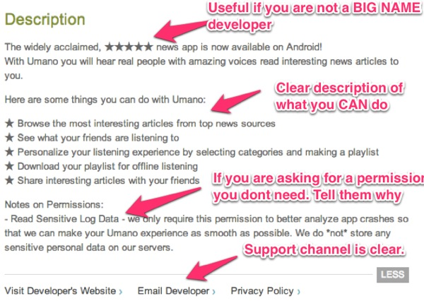 Mobile app description tips