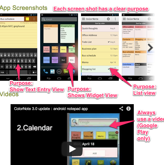 Mobile app screenshot and video tips